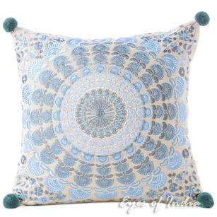 Blue Silver Colorful Decorative Embroidered Mandala Couch Cushion Boho Pillow Sofa Throw Cover - 16""