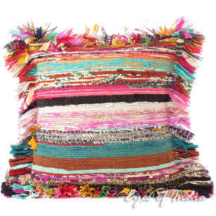 "16"" Colorful Chindi Rag Rug Decorative Sofa Cushion Pillow Throw Cover Bohemian"