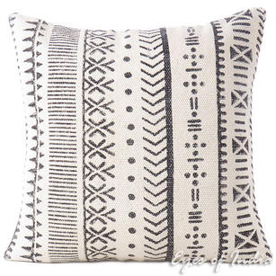 White Black Block Print Couch Cushion Pillow Throw Cover - 20""