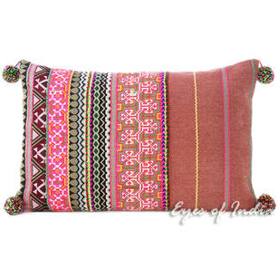 Burgundy Pink Dhurrie Striped Decorative Sofa Bohemian Throw Pillow Cushion Cover - 16 X 24""