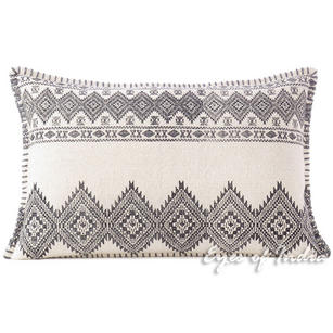 "White Black Dhurrie Printed Colorful Lumbar Long Bolster Sofa Throw Couch Pillow Cushion Cover - 16 X 24"""