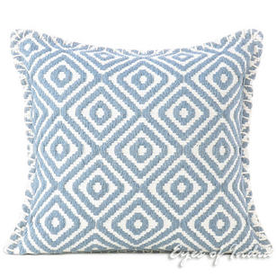 Grey Embroidered Long Bolster Lumbar Colorful Decorative Sofa Throw Couch Pillow Cushion Cover - 16""