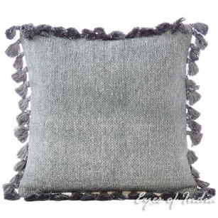 Grey Colorful Decorative Dhurrie Cotton Cushion Pillow Sofa Throw Tassels Cover - 16""