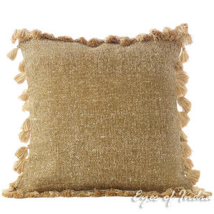 Brown Cotton Colorful Decorative Couch Tassels Cushion Dhurrie Pillow Throw Cover - 16""