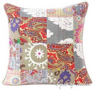 Grey Gray Kantha Colorful Decorative Bohemian Sofa Throw Pillow Boho Couch Cushion Cover- 16""