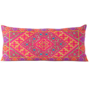 """Pink Embroidered Swati Bolster Long Lumbar Colorful Decorative Sofa Couch Pillow Cushion Cover - 14 X 32"""""""