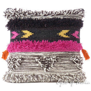 Gray Pink Decorative Embroidered Tassel Cushion Woven Tufted Fringe Pillow Sofa Throw Cover - 20""