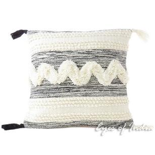 White Black Decorative Tufted Embroidered Tassel Cushion Woven Fringe Pillow Sofa Throw Cover - 20""