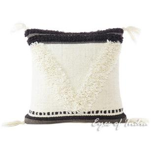 White Black Decorative Tufted Woven Fringe Pillow Sofa Throw Tassel Cushion Cover - 20""