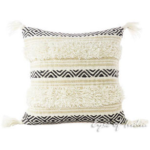 White Black Decorative Embroidered Woven Fringe Pillow Sofa Throw Tassel Cushion Tufted Cover - 20""