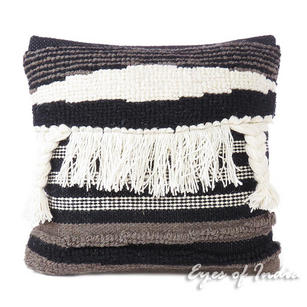 White Black Colorful Tassel Wool Embroidered on Cotton Cushion Woven Tufted Fringe Pillow Sofa Throw Cover - 20""