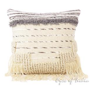 White Black Decorative Embroidered Tassel Cushion Woven Tufted Fringe Pillow Throw Cover - 20""