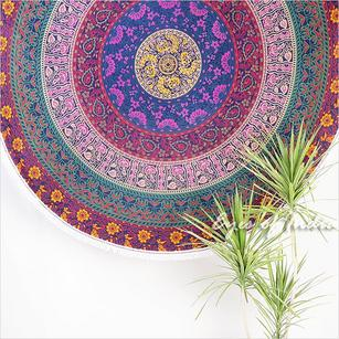 Blue Roundie Beach Mat Boho Bohemian Picnic Mandala Hippie Tapestry Throw - 72""