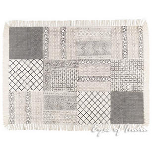 Black White Block Print Area Accent Dhurrie Boho Cotton Rug Flat Weave Carpet - 4 X 6 ft