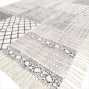 Black White Block Print Area Accent Dhurrie Boho Cotton Rug Flat Weave Carpet - 4 X 6 ft