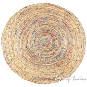 Orange Round Colorful Woven Bohemian Jute Chindi Braided Area Decorative Rag Rug - 4 ft