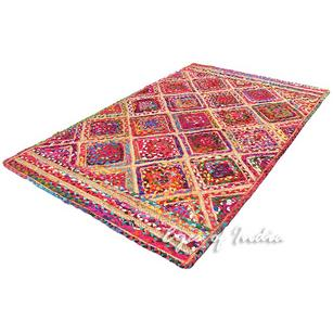 Colorful Diamond Woven Jute Chindi Braided Area Decorative Rag Rug - 3 X 5 ft