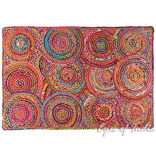 Colorful Pop Boho Woven Jute Chindi Braided Area Decorative Rag Rug - 4 X 6 ft