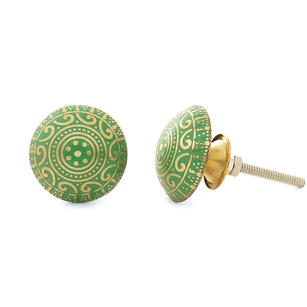 Brass Decorative Cabinet Knobs, Boho Cupboard Door Dresser Knobs, Shabby Chic Colorful Drawer Pulls, Handmade Painted Knobs, Green and Gold