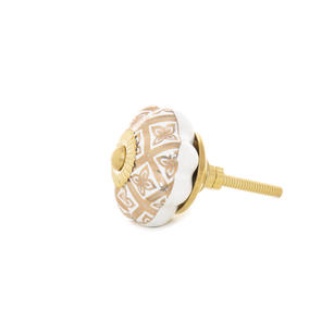 Gold White Ceramic Dresser Cabinet Door Cupboard Knobs Pulls Shabby Chic Decorative Colorful Boho Bohemian