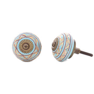 Ceramic Cabinet Door Knobs, Boho Painted Cupboard Dresser Knobs, Decorative Shabby Chic Bohemian Drawer Pulls, Blue Brown