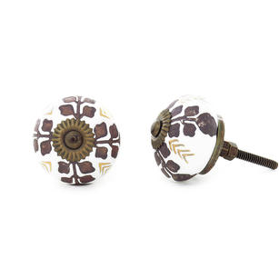 Ceramic Cabinet Door Knobs, Boho Painted Cupboard Dresser Knobs, Decorative Shabby Chic Bohemian Drawer Pulls, Gold Brown