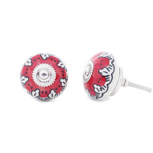 Ceramic Cabinet Door Knobs, Boho Painted Cupboard Dresser Knobs, Decorative Shabby Chic Bohemian Drawer Pulls, Red and White