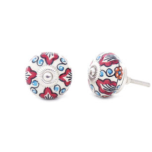 Ceramic Cabinet Door Knobs, Boho Painted Cupboard Dresser Knobs, Decorative Shabby Chic Bohemian Drawer Pulls, Red and Blue