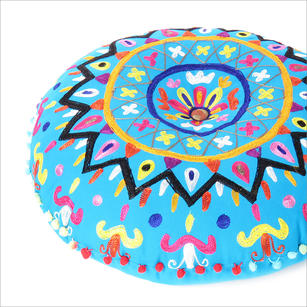 Blue Decorative Round Floor Pillow Cushion Cover Seating Meditation Throw Indian Bohemian Boho - 24""
