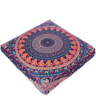 Blue Orange Large Oversized Mandala Square Colorful Floor Pillow  Pouf Meditation Cushion Cover