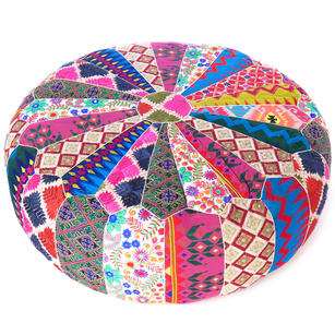 Round Bohemian Ottoman Pouf Pouffe Cover Boho Colorful Floor Seating - 20""