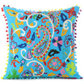 """Blue Embroidered Colorful Decorative Boho Bohemian Sofa Pillow Couch Cushion Throw Cover - 16"""""""