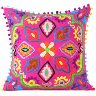 Pink Boho Colorful Decorative Embroidered Sofa Bohemian Couch Cushion Throw Pillow Cover - 16""