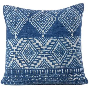 Indigo Blue Overdyed Block Print Cushion Floor Couch Sofa Decorative Pillow Throw Colorful Cover-20""