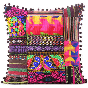 Black Pink Dhurrie Patchwork Bohemian Kilim Colorful Decorative Throw Sofa Cushion Couch Pillow Cover - 16""