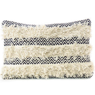 "16 X 24"" Cream White Black Woven Tufted Tassel Cushion Pillow Cover Fringe Sofa"