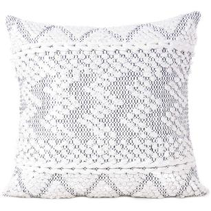 "20"" White Black Woven Tufted Cushion Cover Case Fringe Pillow Sofa Couch Throw Boho Chic Embroidery Handmade"