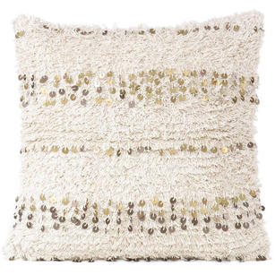 "20"" Beige Cream Woven Tufted Shag Sequined Cushion Pillow Cover Case Fringe Sofa Couch Throw Bohemian Accent Embroidered Handmade"