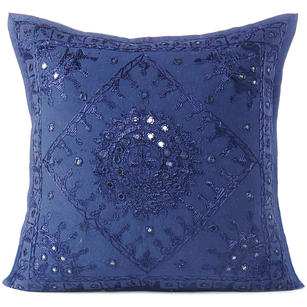 Blue Mirror Embroidered Sofa Colorful Decorative Throw Couch Pillow Bohemian Cushion Cover - 16 to 24""