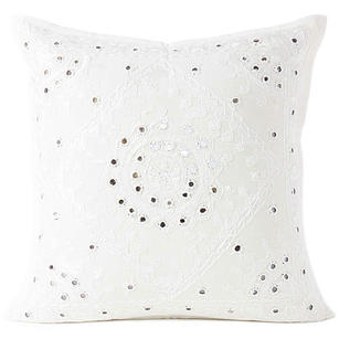 """White Mirror Embroidered Colorful Decorative Sofa Bohemian Couch Throw Pillow Cushion Cover - 16, 24"""""""