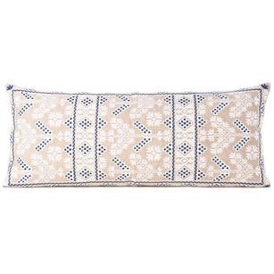 "Cream Blue Moroccan Bolster Long Lumbar Sofa Couch Pillow Cushion Cover - 14 X 32"""