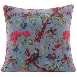 "Gray Velvet Colorful Decorative Bird Throw Sofa Cushion Boho Bohemian Couch Pillow Cover - 16"", 20"", 24"""