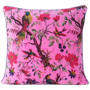 "Pink Velvet Colorful Decorative Bird Throw Sofa Boho Bohemian Cushion Couch Pillow Cover - 16"", 20"", 24"""