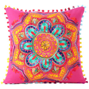 Pink Orange Blue Embroidered Colorful Throw Pillow Bohemian Couch Sofa Cushion Cover - 16""