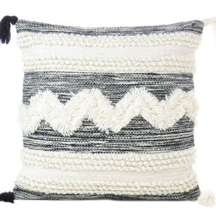 White Black Colorful Tufted Colorful Wool Embroidered on Cotton Cushion Woven Fringe Pillow Sofa Throw Cover - 20""