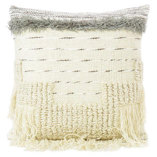 """White Black Colorful Colorful Wool Embroidered on Cotton Cushion Woven Textured Fringe Pillow Sofa Throw Cover - 20"""""""