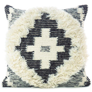"20"" Black White Woven Tufted Tassel Wool Embroidered on Cotton Cushion Cover Fri"