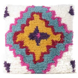 Pink Blue Decorative Woven Shag Wool Embroidered on Cotton Pillow Cushion Cover Fringe Colorful Couch Sofa - 20""