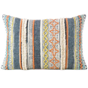 Orange Blue Decorative Fringe Tassel Pillow Cotton Cushion Couch Sofa Throw Bohemian Colorful Boho Cover  - 16 X 24""