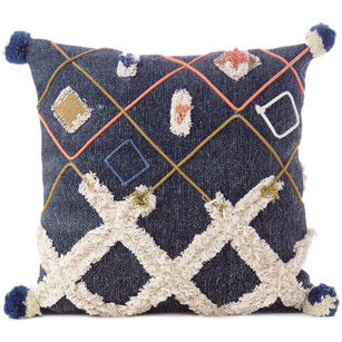 "20"" Decorative Indigo Blue Boho Embroidered Fringe Tassel Pillow Cotton Cushion"